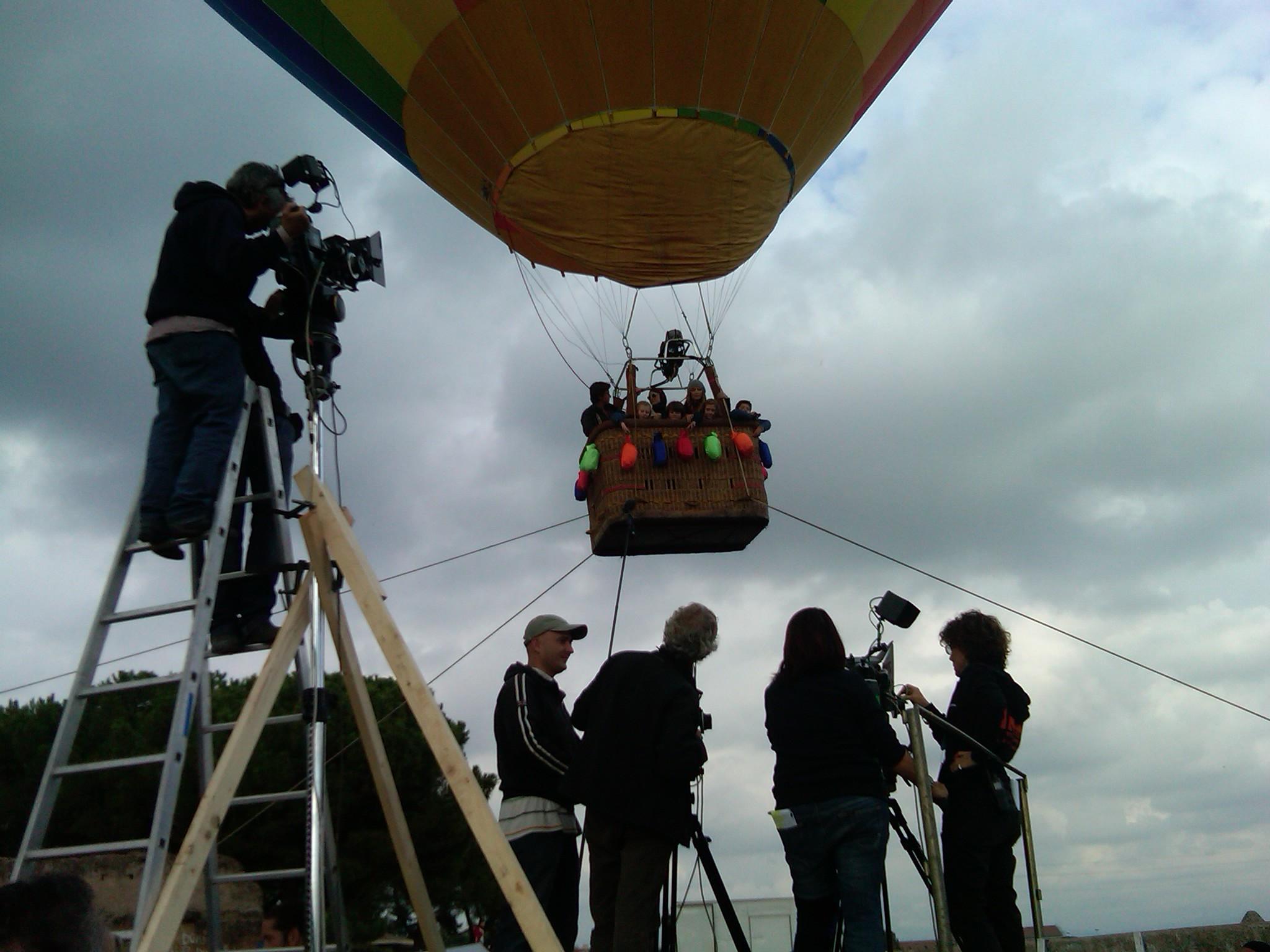 Ripresa cinematografica su una mongolfiera